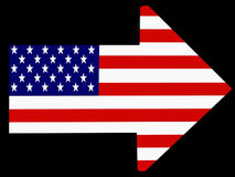 American Way. Arrow with American flag texture vector illustration