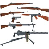 American weapons of World War II. Small arms are the US armed forces of World War II. The illustration on a white background Royalty Free Stock Photo
