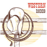 American West cowboy hat and lasso on wood fence.Rodeo illustrat. American West cowboy hat and lasso on wood fence.Vector western rodeo  illustration with text Stock Photos