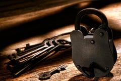 American West Jail Lock and Western Prison Keys. American West Legend sheriff old criminal outlaw jail cell steel lock and vintage western prison keys on a Stock Photos