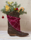 American West leather cowboy boot.Christmas image Stock Photos