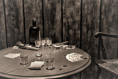 American West Legend Antique Saloon Gambling Table Stock Image