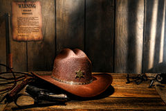 American West Legend Hat on Desk of Sheriff Office Stock Image