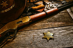 American West Legend Old Sheriff Lawman Star Badge Stock Photos