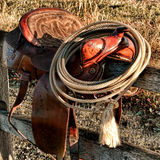 American West Legend Rodeo Western Lasso on Saddle Stock Photo
