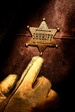 American West Legend Sheriff Badge Finger Pointing Royalty Free Stock Photo