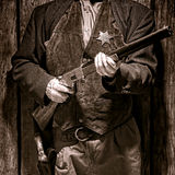 American West Legend Sheriff Deputy Holding Rifle Royalty Free Stock Images