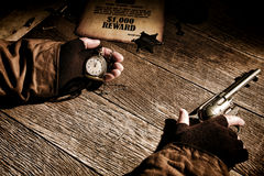 American West Legend Sheriff Keeping Time on Watch Royalty Free Stock Images