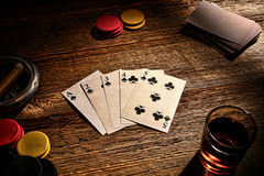 American West Old Saloon Poker Game Straight Flush Stock Image