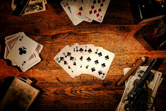 Free American West Poker Game Straight Flush In Saloon Royalty Free Stock Photography - 31897077