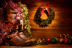 Free American West Rodeo Cowboy Boots Christmas Card Royalty Free Stock Images - 28421789