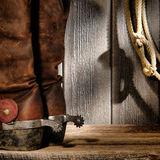 American West Rodeo Cowboy Boots and Lasso Lariat Stock Images