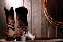 American West Rodeo Cowboy Boots and Riding Spurs Royalty Free Stock Photography