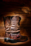 American West Rodeo Cowboy Boots and Western Spurs Royalty Free Stock Photos