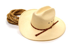 American West Rodeo Cowboy Hat and Ranching Rope Royalty Free Stock Images