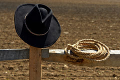American West Rodeo Cowboy Hat and Rope Stock Photo
