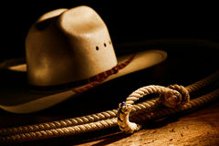 American West Rodeo Cowboy Lasso and Western Hat stock images