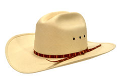 American West Rodeo Cowboy Straw Hat Isolated. American West rodeo cowboy white straw hat isolated on white Royalty Free Stock Photo