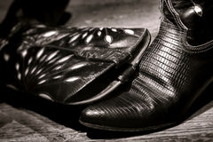 American West Rodeo Cowgirl Alligator Skin Boots Royalty Free Stock Image