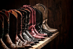 American West Rodeo Cowgirl Boots Shelf Collection royalty free stock images