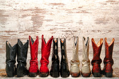 American West Rodeo Cowgirl Boots Western Line Stock Photos