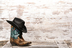 Free American West Rodeo Fashion Cowgirl Boots And Hat Royalty Free Stock Photos - 32241648