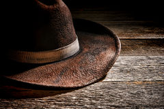 American West Rodeo Old Brown Felt Cowboy Hat Stock Image
