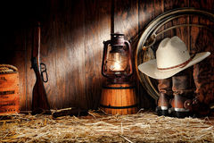 American West Rodeo Old Ranching Tools in a Barn Stock Image