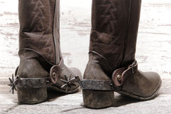 American West Rodeo Western Spurs on Cowboy Boots Stock Images
