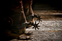 American West Rodeo Western Spurs on Cowboy Boots Royalty Free Stock Photos