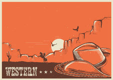 American western poster with cowboy hat and lasso. Western American landscape with cowboy hat and lasso.Vector poster illustration for text Stock Photography