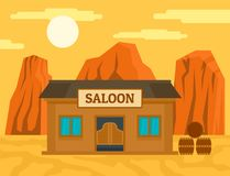 American western saloon concept background, flat style vector illustration