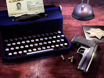 American whodunit. Elements of an American whodunit from the fifties Stock Photography