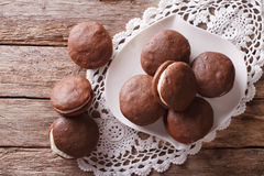 American Whoopie pie dessert close-up on the table. horizontal t Royalty Free Stock Photography