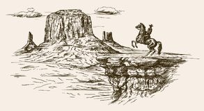 American wild west desert with cowboy. Hand drawn illustration Royalty Free Stock Photos