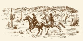 American wild west desert with cowboys. Stock Photo