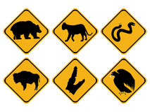 American wildlife signs. American dangerous wildlife signs bear snake bison alligator Royalty Free Stock Image
