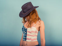 American woman with cowboy hat Royalty Free Stock Photos