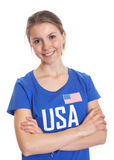 American woman with crossed arms Stock Photos
