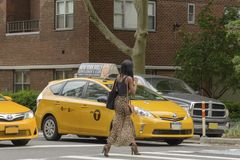The American woman crosses the pedestrian crossing while the tax. New York City, USA - June 08, 2017: New York yellow taxi cab stop at pedestrians traffic lights Stock Photography