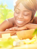 American woman enjoying day spa Stock Photography