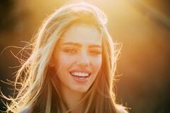 Free American Woman. Perfect Smile And Beatiful. Smile, Lips And Teeth. Beautiful Model Girl With White Teeth And Perfect Stock Photography - 199415282