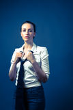 American Woman In White Shirt & Tie Royalty Free Stock Photo