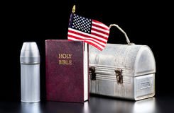 American Worker and the Bible. Royalty Free Stock Photo