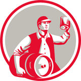 American Worker Keg Toast Beer Mug Circle Retro Royalty Free Stock Photos