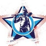 American worker patriotic emblems Royalty Free Stock Image