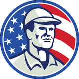 American Worker Stars and Stripes Flag Retro Royalty Free Stock Photos