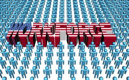 American workforce with flag text. Illustration Royalty Free Stock Images