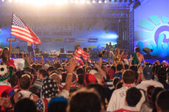American World Cup Fans gather to watch the USA vs Ghana match. Royalty Free Stock Images