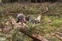 American World War II trooper during combat. American World War II infantry soldier prepering for shooting Stock Photography